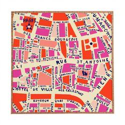 Paris Map by Holli Zollinger Framed Graphic Art Plaque