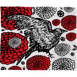 Julia Da Rocha Raven Rose Fleece Throw Blanket