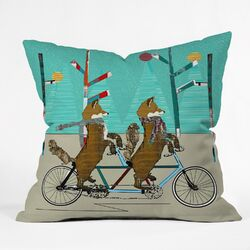 Brian Buckley Foxy Days Lets Tandem Throw Pillow