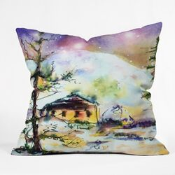 Ginette Fine Art Cabin In The Snow Throw Pillow
