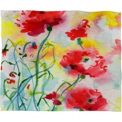 Ginette Fine Art If Poppies Could Only Speak Polyester Fleece Throw Blanket