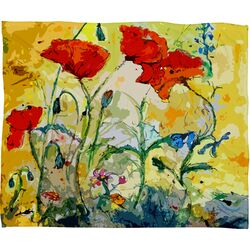 Ginette Fine Art Poppies Provence Polyester Fleece Throw Blanket