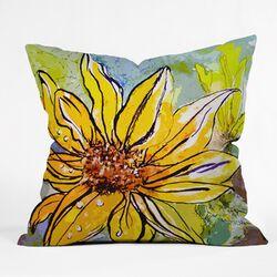 Ginette Fine Art Sunflower Ribbon Throw Pillow
