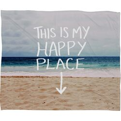 Leah Flores Happy Place X Beach Polyester Fleece Throw Blanket