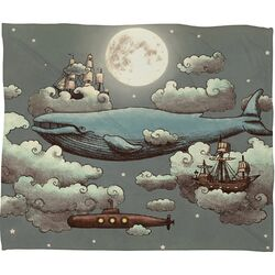 Terry Fan Ocean Meets Sky Polyester Fleece Throw Blanket