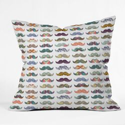 Bianca Green Mustache Mania Indoor/Outdoor Polyester Throw Pillow