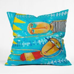Robin Faye Gates Polyester Swimming Is Hard Indoor/Outdoor Throw Pillow