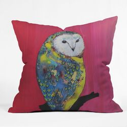 Clara Nilles Polyester Owl On Lipstick Indoor/Outdoor Throw Pillow