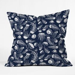 Jennifer Denty Polyester Jellyfish Indoor/Outdoor Throw Pillow