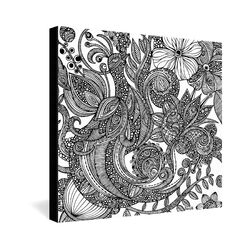 Bird in Flowers Black White by Valentina Ramos Graphic Art on Canvas