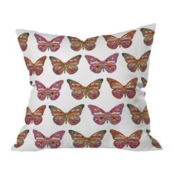 Bianca Green Butterflies Fly Woven Polyester Throw Pillow