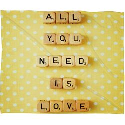 Happee Monkee All You Need Is Love 1 Polyesterrr Fleece Throw Blanket
