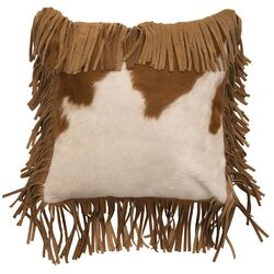 Leather Hair on Hide Leather/Suede Throw Pillow by Wooded River