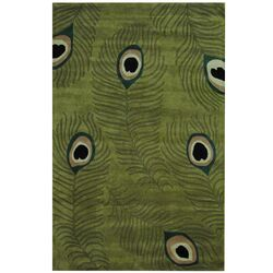 Indo Hand-tufted Gabbeh Green/ Ivory Wool Rug