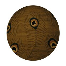 Indo Hand-tufted Gabbeh Green/ Ivory Round Wool Rug