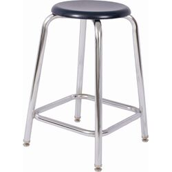 Fixed Height Chrome Round Tube Stool