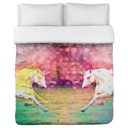 Oliver Gal Mirrored Unicorns Duvet Cover Collection