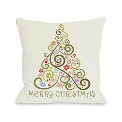 Merry Christmas Whimsical Tree Pillow