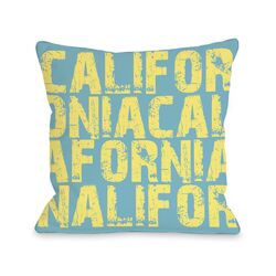 California All Over Word Pillow