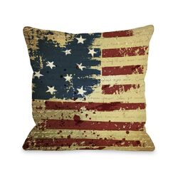 Vintage American Flag Fleece Throw Pillow