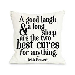 Irish Proverb Cure Fleece Throw Pillow