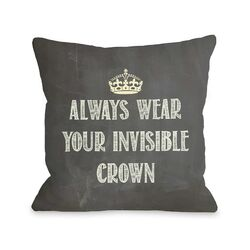 Invisible Crown Chalkboard Pillow