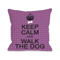 Doggy D�cor Keep Calm and Walk The Dog Mini Dots Pillow