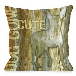 Doggy D�cor Dog Gone Cute Wood Throw Pillow