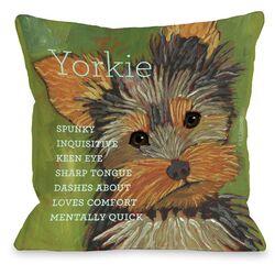 Doggy D�cor Yorkshire Terrier 1 Throw Pillow