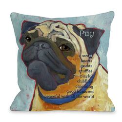 Doggy D�cor Pug 2 Throw Pillow