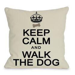 Doggy D�cor Keep Calm and Walk the Dog Throw Pillow