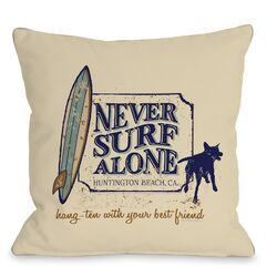 Doggy D�cor Never Surf Alone Throw Pillow