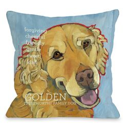 Doggy D�cor Golden Retriever 1 Throw Pillow
