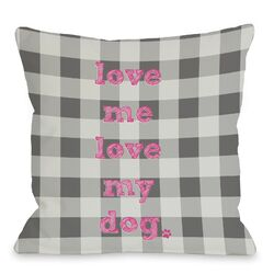Doggy D�cor Love Me Love My Dog Plaid Pillow