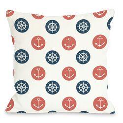Anchor Wheel Polka Dot Pillow