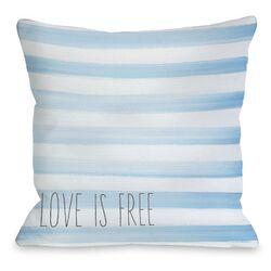 Love is Free Watercolor Stripe Pillow