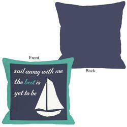 Sail Away Sailboat with Border Pillow