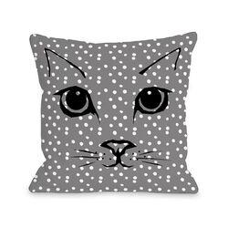 Cat Face Dots Fleece Throw Pillow
