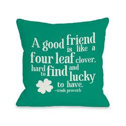 Good Friend Irish Proverb Fleece Throw Pillow