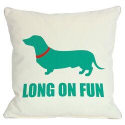 Doggy D�cor Dachshund Long on Fun Throw Pillow