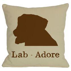 Doggy D�cor Lab Adore Throw Pillow