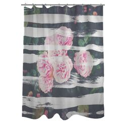 Oliver Gal Blooming Strokes Polyester Shower Curtain