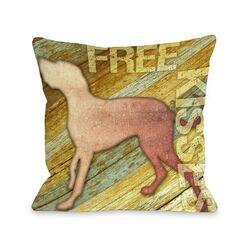 Doggy D�cor Free Kises Wood Throw Pillow