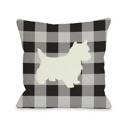Doggy D�cor Gingham Silhouette Westie Pillow