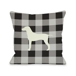 Doggy D�cor Gingham Silhouette Mixed Breed Pillow