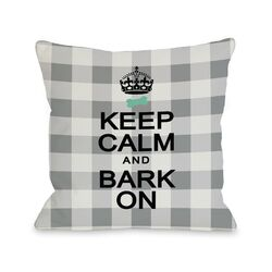 Doggy D�cor Keep Calm and Bark On Gingham Pillow