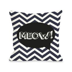 Doggy D�cor Chevron Meow Talk Bubble Pillow