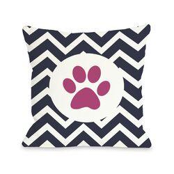 Doggy D�cor Chevron Circle Paw Print Pillow