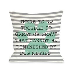 Doggy D�cor No Trouble Dog Kisses Stripe Paw Pillow