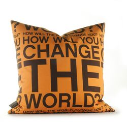 Change the World Pillow in Orange and Chocolate